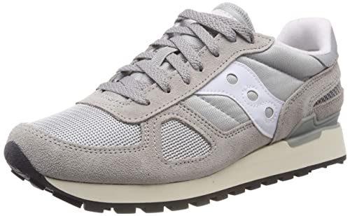 separation shoes 6f9a1 435c9 Saucony Mens Shadow Original Vintage Suede Mesh Grey White Trainers 6 US