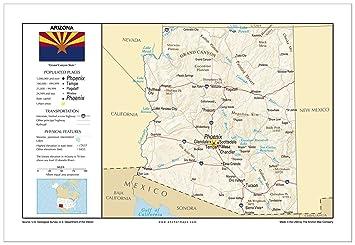 Amazoncom X Arizona General Reference Wall Map Anchor - Arizona physical map