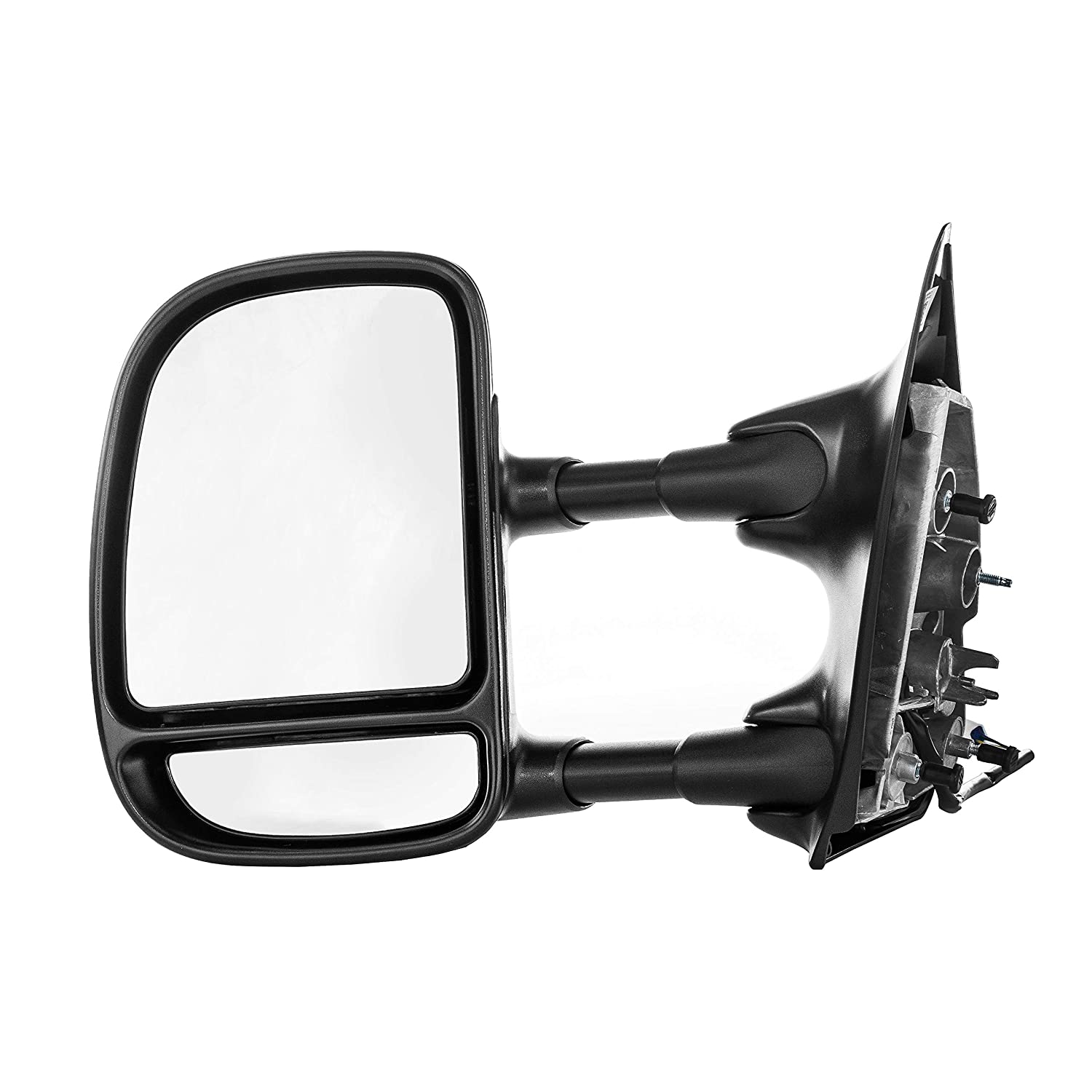 Passenger Side Towing Mirror for Ford Super Duty F-250, F-350 (1999 2000 2001 2002 2003) Textured Non-Heated Power Adjustment Folding Telescopic Right Door Rear View Replacement FO1321196