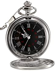 Mudder Smooth Antique Quartz Pocket Watch with Steel Chain (Silver)
