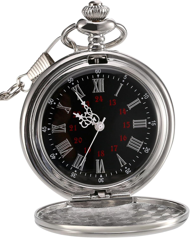 Reloj de Bolsillo de Cuarzo Antiguo Liso con Cadena de Acero