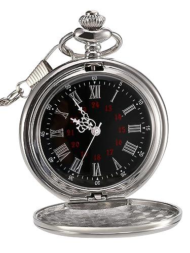 Reloj de Bolsillo de Cuarzo Antiguo Liso con Cadena de Acero (Plateado)