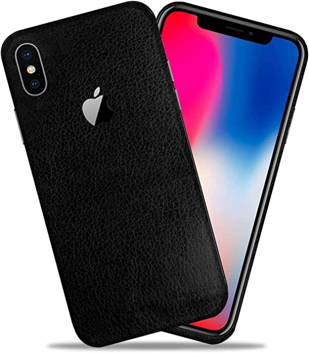 Black Leather Texture Protective Skin Decal for Apple iPhone X/iPhone 10 Sticker Wrap Cover 2 Pack by GolemGuard