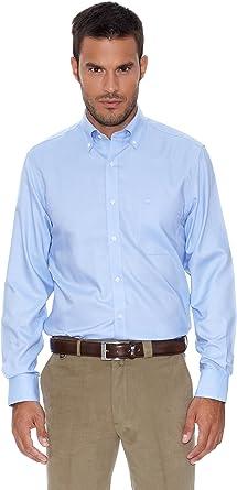 Pedro del Hierro Camisa Non Iron Oxford Azul M: Amazon.es ...