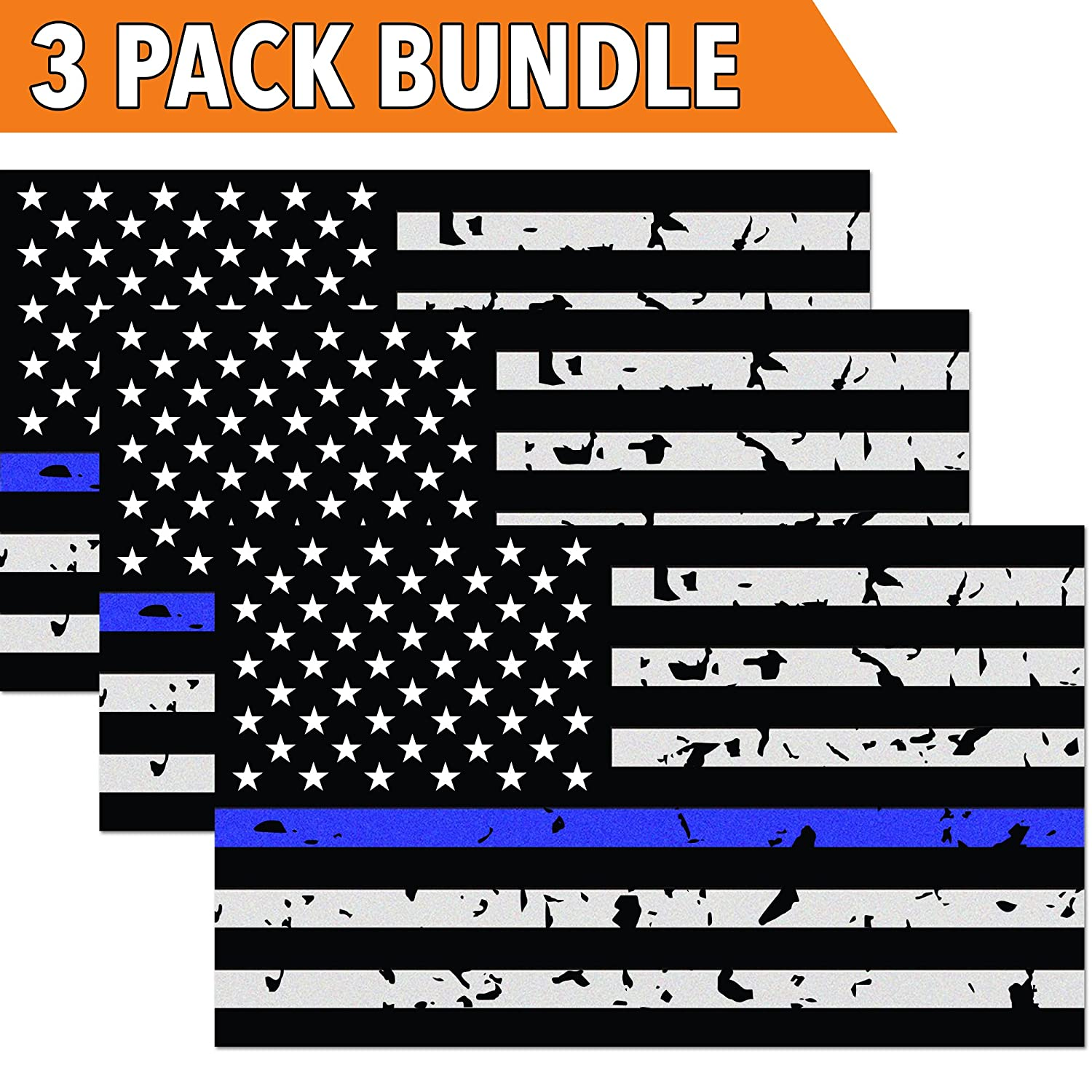 Classic Biker Gear Reflective Thin Blue Line Decal - 3x5 in. American Flag Decal for Cars and Trucks, Support Police and Law Enforcement Officers (3 Pack) CBG-STK-04-3PK