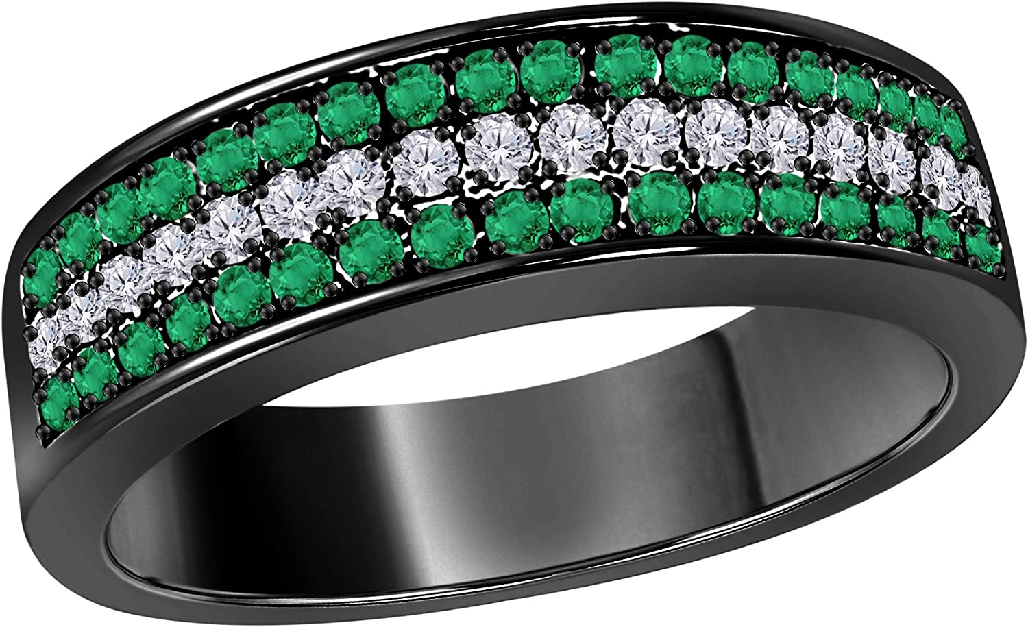 Silver Gems Factory 6MM 14K Black Gold Plated 0.50CT Green Emerald /& White Cz Diamond Ring 3 Row Pave Half Eternity Mens Anniversary Wedding Band Ring