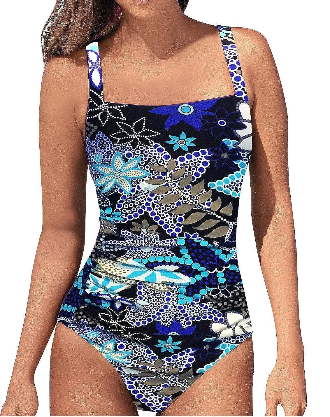 976fcc5426 Women\'s Vintage Tummy Control One Piece Swimsuits Monokini Push Up Bathing  Suits Plus Size Swimwear