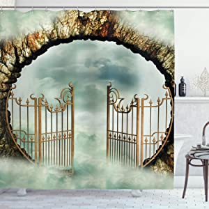 Ambesonne Mystic Shower Curtain, Vintage Door Gate in The Sky Surrounded with Clouds Dreamy Castle, Cloth Fabric Bathroom Decor Set with Hooks, 84