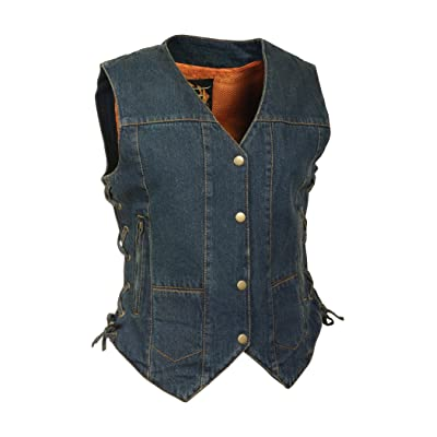 Milwaukee Leather Women\'s Denim 6 Pocket Vest with Side Lace (Blue, Small): Automotive [5Bkhe1502268]