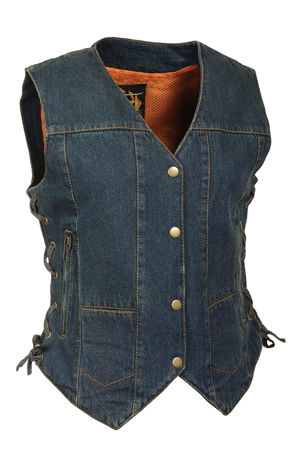 Milwaukee Leather Womens Denim 6 Pocket Vest with Side Lace Black, 4X-Large