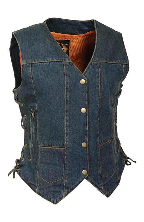 Blue, X-Large Milwaukee Leather Womens Denim 6 Pocket Vest with Side Lace