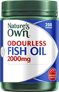Nature's Own Odourless Fish Oil 2000mg - Source of Omega-3 - Maintains Wellbeing - Supports Healthy Heart & Brain, 200 Capsules