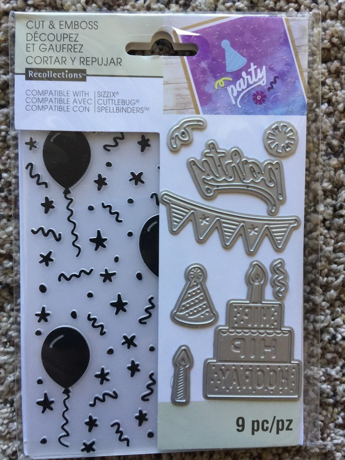 Recollections Folder & Dies 542847 Birthday Embossing (9 Cutting Dies)