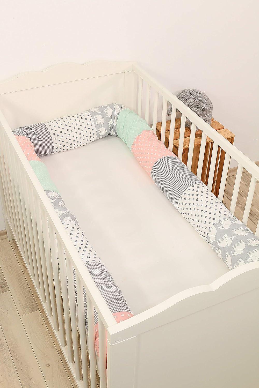ideal para proteger al beb/é de los barrotes de la cuna o como coj/ín de apoyo Coj/ín protector para cuna de ULLENBOOM /® coj/ín chichonera en forma de serpiente azul claro azul gris