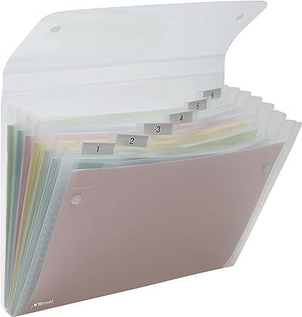 Colori Assortiti 13 Tasche Rexel Ice Archiviatore a Soffietto A4 Chiusura con Bottone