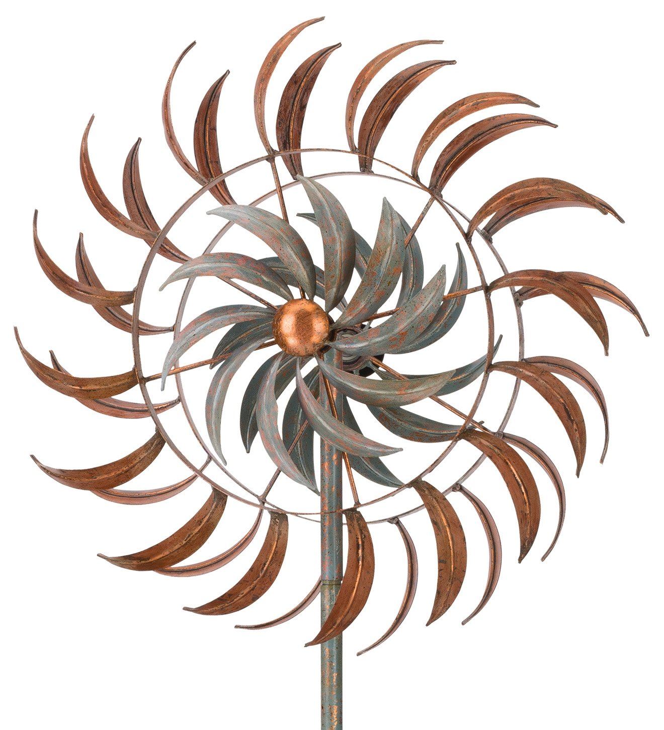 Regal Art & Gift Rotating Kinetic 24 inches x 13.5 inches x 75 inches Metal Stake - Copper Petals Garden Stakes