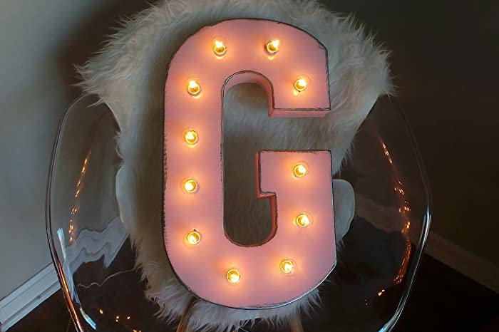 metal light up letters marquee distressed light pink 21