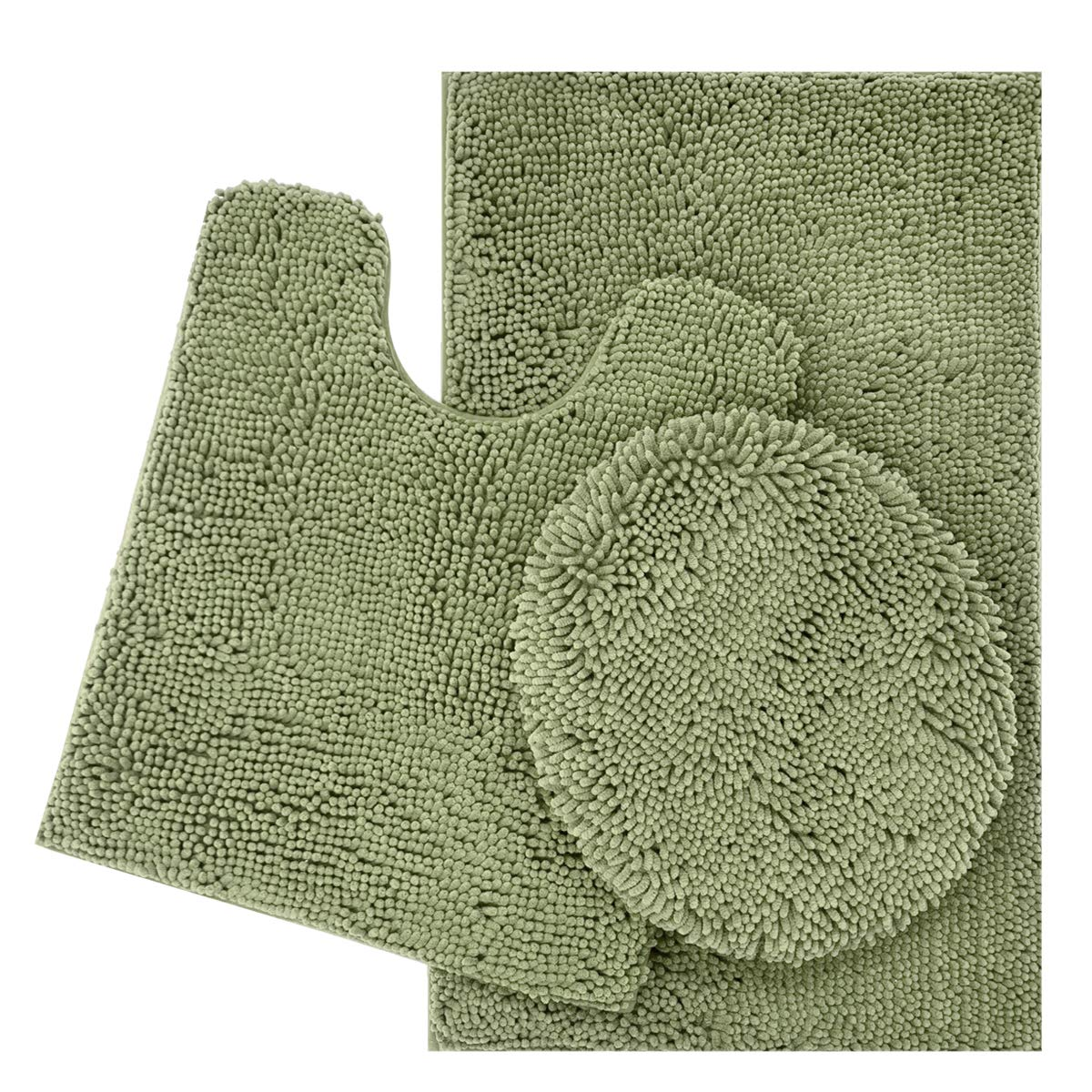 ITSOFT 3pc Non-Slip Shaggy Chenille Bathroom Mat Set, Includes U-Shaped Contour Toilet Mat, Bath Mat and Toilet Lid Cover, Machine Washable, Sage Green by ITSOFT (Image #1)