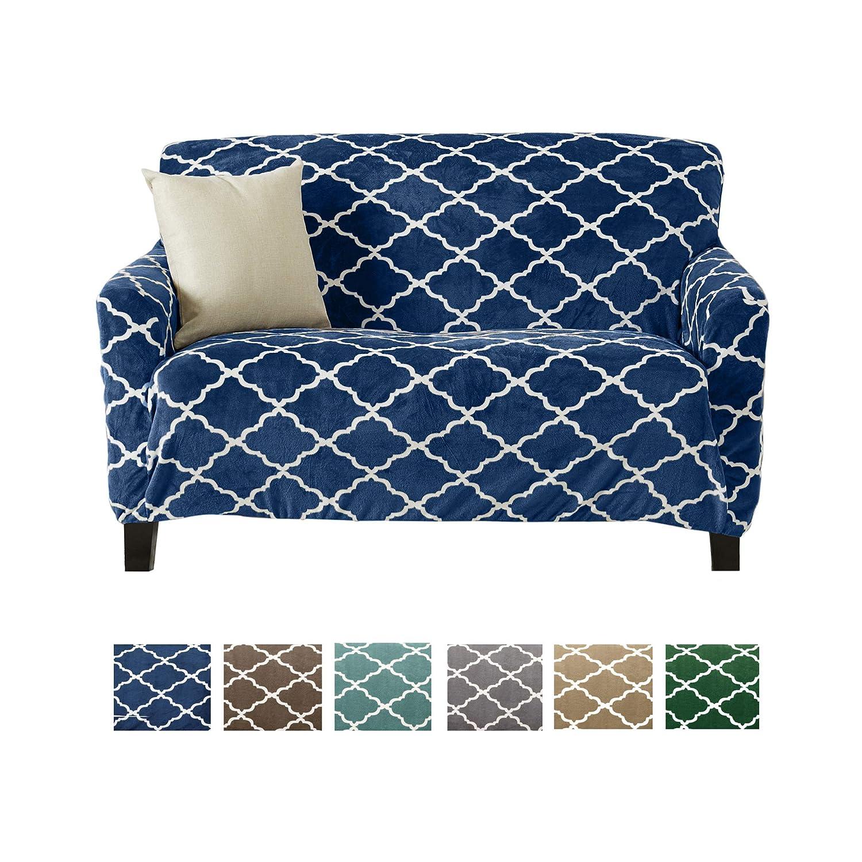Modern Velvet Plush Love Seat Slipcover. Strapless One Piece Stretch Loveseat Cover. Love Seat Cover for Living Room. Magnolia Collection Slipcover. (Love Seat, Navy)