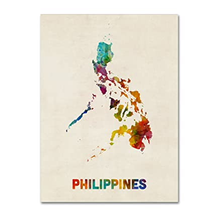 Amazon Com Philippines Watercolor Map By Michael Tompsett 24x32