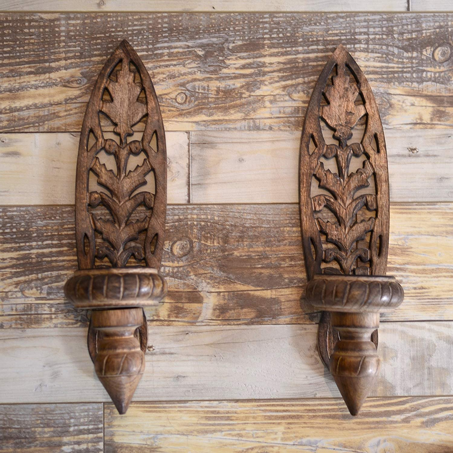 Rusticity Wood Wall Candle Holder Sconce - Set of 2 | Handmade | (15in x 4.5in)