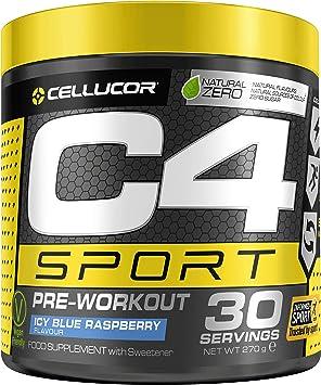 C4 Sport - Suplemento en polvo para preentrenamiento - Frambuesa azul | Bebida energética para antes de entrenar | 135 mg de cafeína + beta alanina + ...