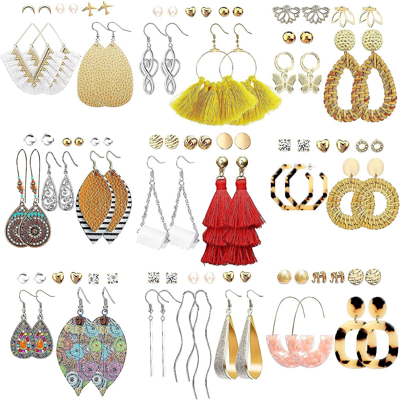 Boho Geometric leather earrings Statement earrings Leather earrings Circle earrings