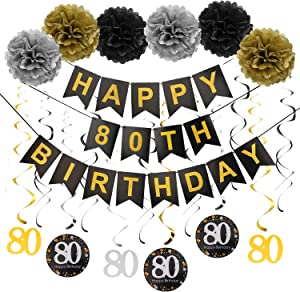 Luxiocio 80th Birthday Party Decorations for Men & Women - Happy 80 Years Old Birthday Party Supplies - Including Glitter Happy 80th Birthday Banner, 12Pcs 80 Hanging Swirl, 6Pcs Poms