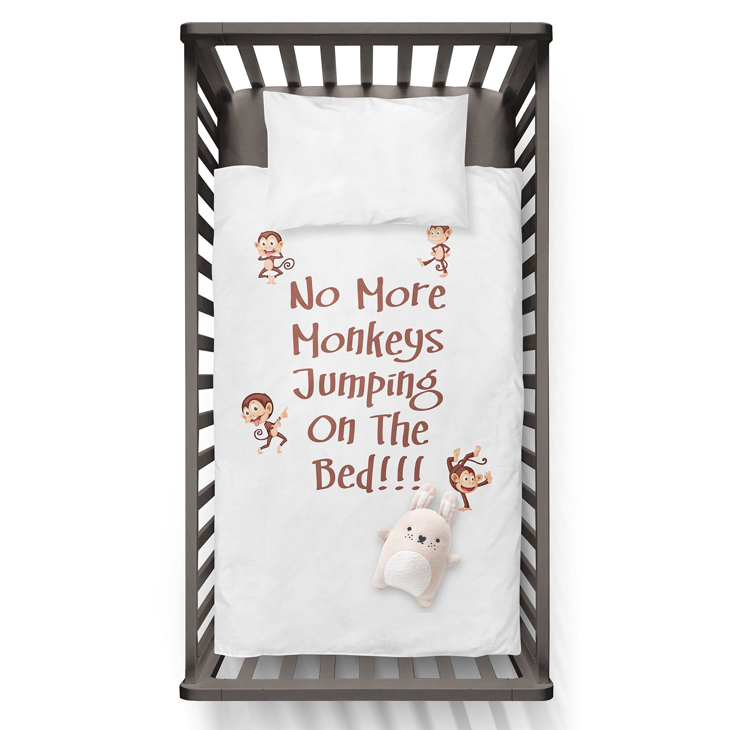 No More Monkeys Jumping On The Bed!!! Funny Humor Hip Baby Duvet /Pillow set,Toddler Duvet,Oeko-Tex,Personalized duvet and pillow,Oraganic,gift