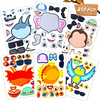 Sinceroduct Make Your Own Stickers Make-a-Face Stickers 20 Pack Stickers for Kids, Great for Parties, School Time.