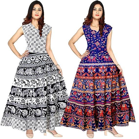 bd2d98275ee5 Silver Organisation Women s Cotton Jaipuri Printed Maxi Long Dress  (Multicolour