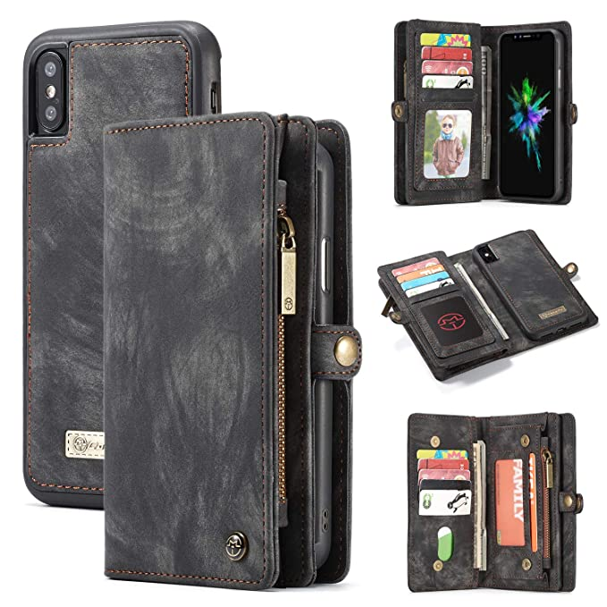 fc9bfd6d9928 CaseMe Wallet Case for iPhone XR,Detachable Slim TPU PC Case,Zipper Wallet  Case Cover,Luxury Handmade Trifold Leather with Original Package Strong ...