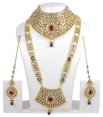 Amazoncom Ethnic Traditional Long Necklace Ethnic Indian Bridal