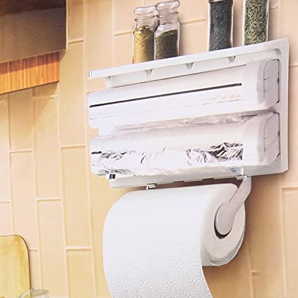 Rollo de papel de cocina titular dispensador de papel Triple para film transparente papel de aluminio
