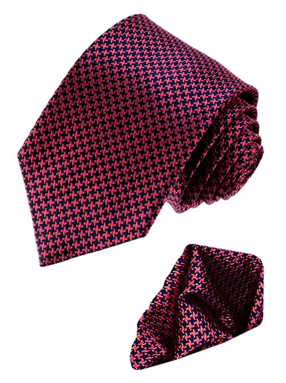LORENZO CANA Luxury Italian 100% Silk Woven Tie Hanky Set Blue Red 8449601 by LORENZO CANA (Image #1)
