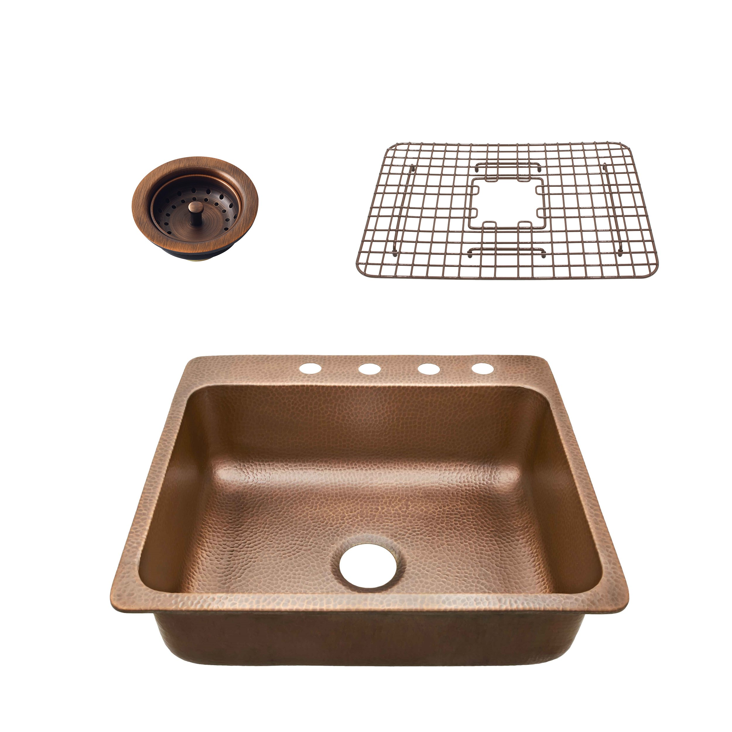 Sinkology SK102-25AC4-WG-B  Rosa 25 In. 4-Hole  Kit With Bottom Grid And Strainer Drain Copper Kitchen Sink, 25 X 22 X 8'', Antique Copper