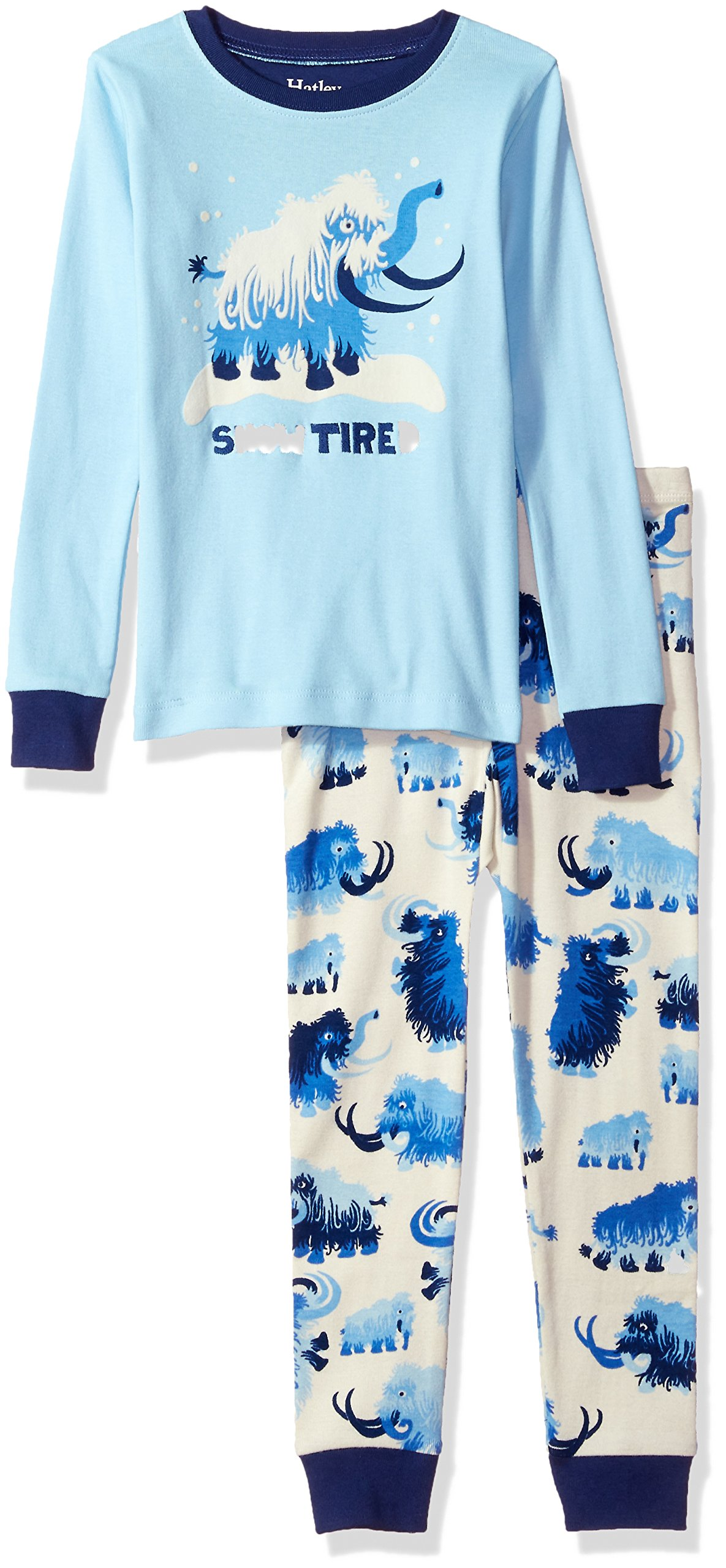 Hatley Little Boys' Organic Cotton Long Sleeve Applique Pajama Set, Woolly Mammoth, 6
