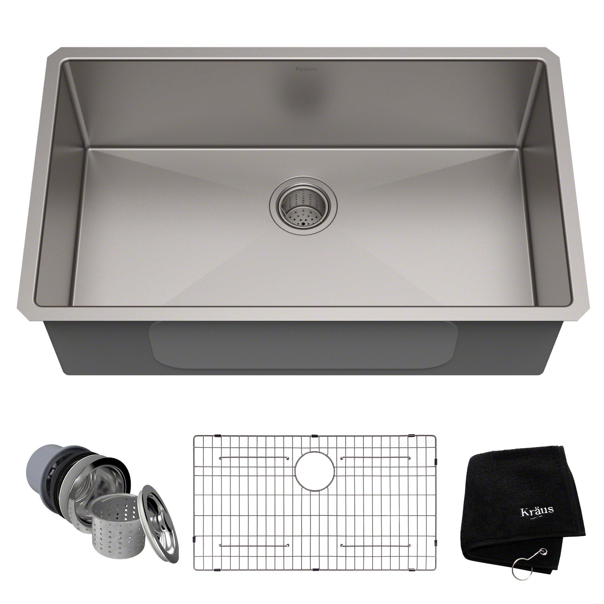 Kraus Standart PRO 32-inch 16 Gauge Undermount Single Bowl Stainless Steel Kitchen Sink, KHU100-32 by Kraus