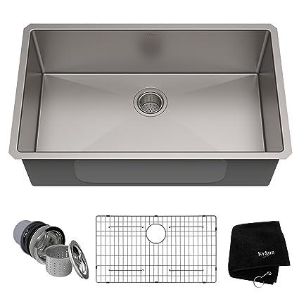 Bon Kraus Standart PRO 32 Inch 16 Gauge Undermount Single Bowl Stainless Steel  Kitchen Sink,
