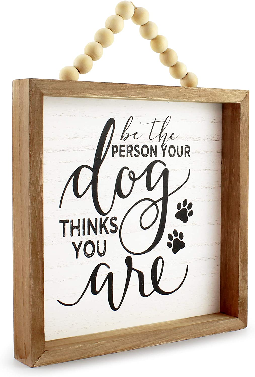 AuldHome Wood Beaded Sign, Dog Quote Plaque 8 x 8, Table/Shelf Freestanding Rustic Farmhouse Sign, Distressed Whitewashed Style