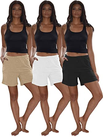 47bdcfa84a55 Sexy Basics Women s 3 Pack Cotton Sleep Pajama Shorts with Pockets    Drawstring at Amazon Women s Clothing store