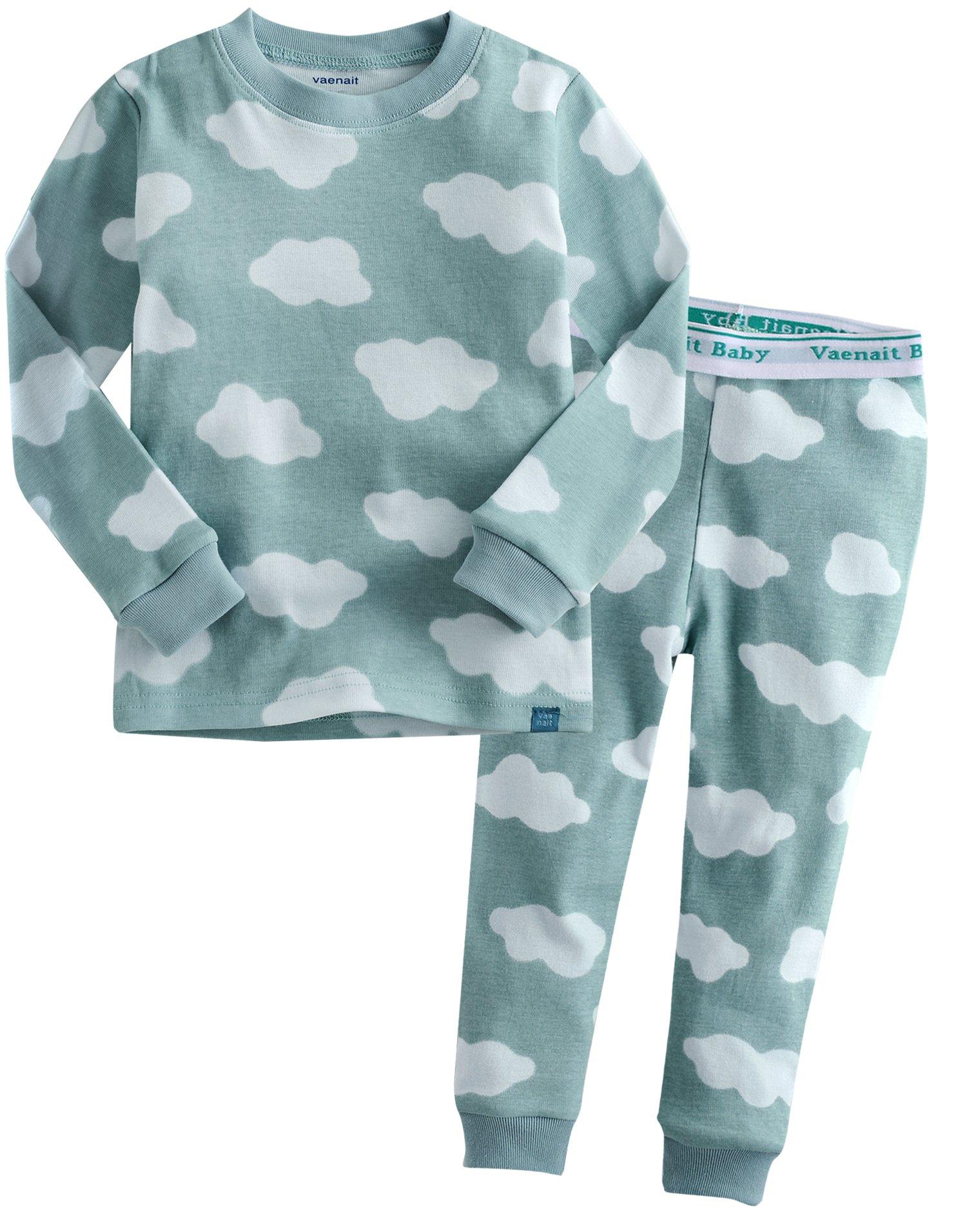Vaenait baby Kids Boys Sleepwear Pajama Top Bottom Set Long Cloud Blue XS