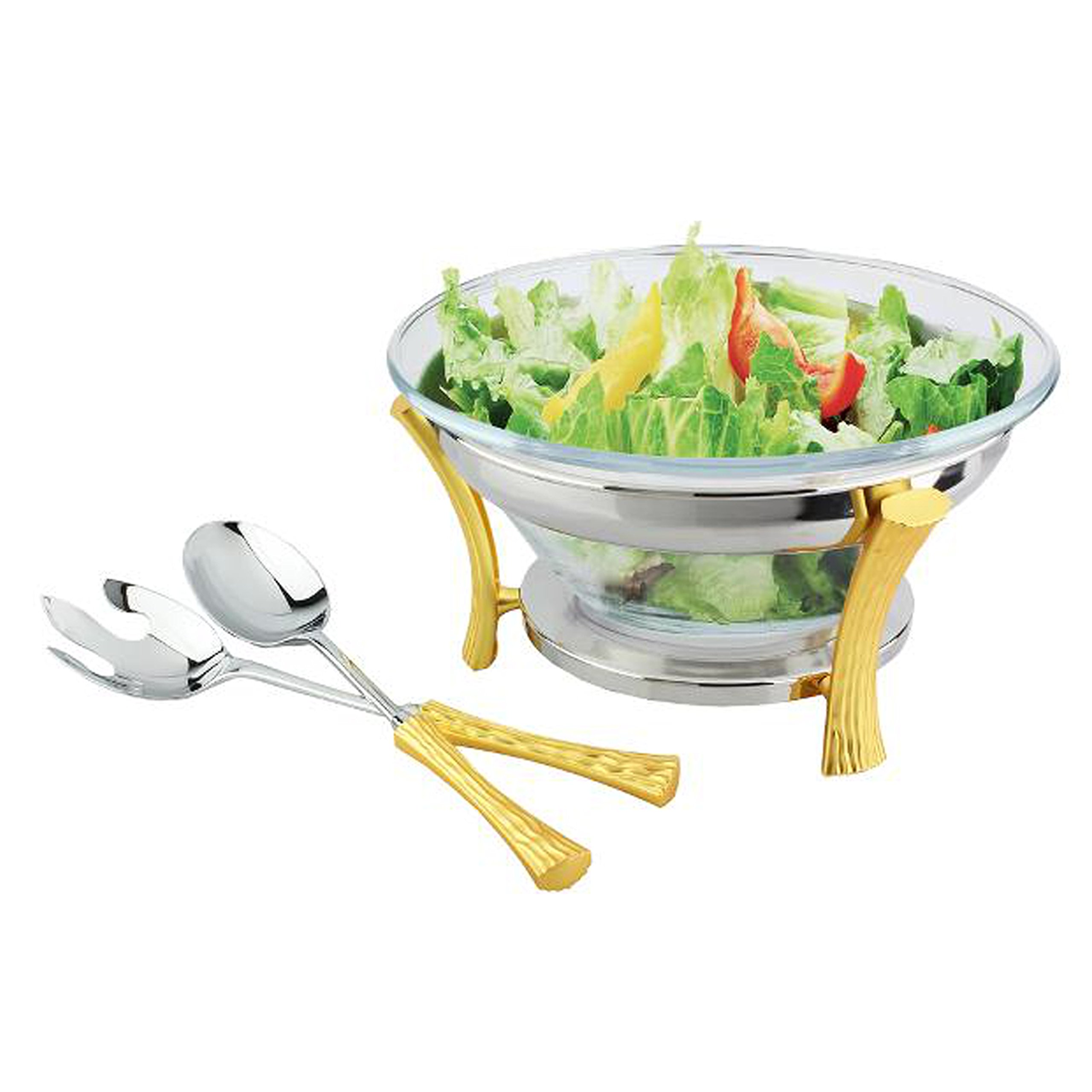 Gold Two Tone Design NG830 salad-server-sets, Gold Two Tone