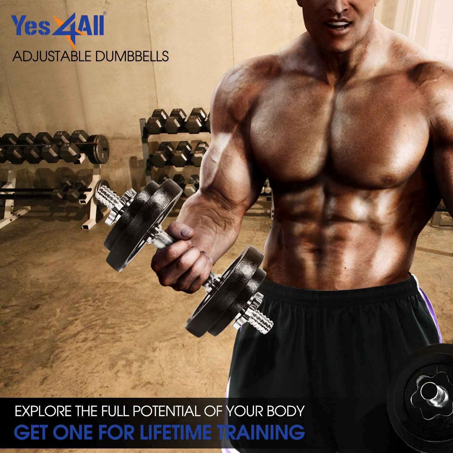 Yes4All - Mancuernas ajustables (18,1 / 22,7 / 23,8 / 27,2 / 47,6 / 90,7 kg) - D2CL, Negro: Amazon.es: Deportes y aire libre