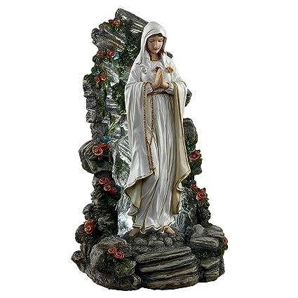 Design Toscano Blessed Virgin Mary Illuminated Garden Grotto Sculpture,  Full Color