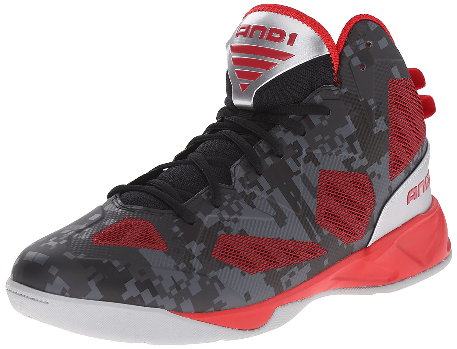 AND1 Men's Xcelerate 2 Basketball Shoe B00T3IXTE4 7 D(M) US|Black/F1 Red/Silver