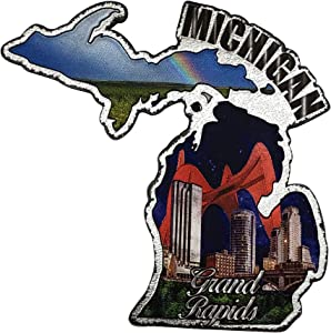 Michigan the Great Lakes State Refrigerator Souvenir Gift Magnet and Grand Rapids Fridge Magnet