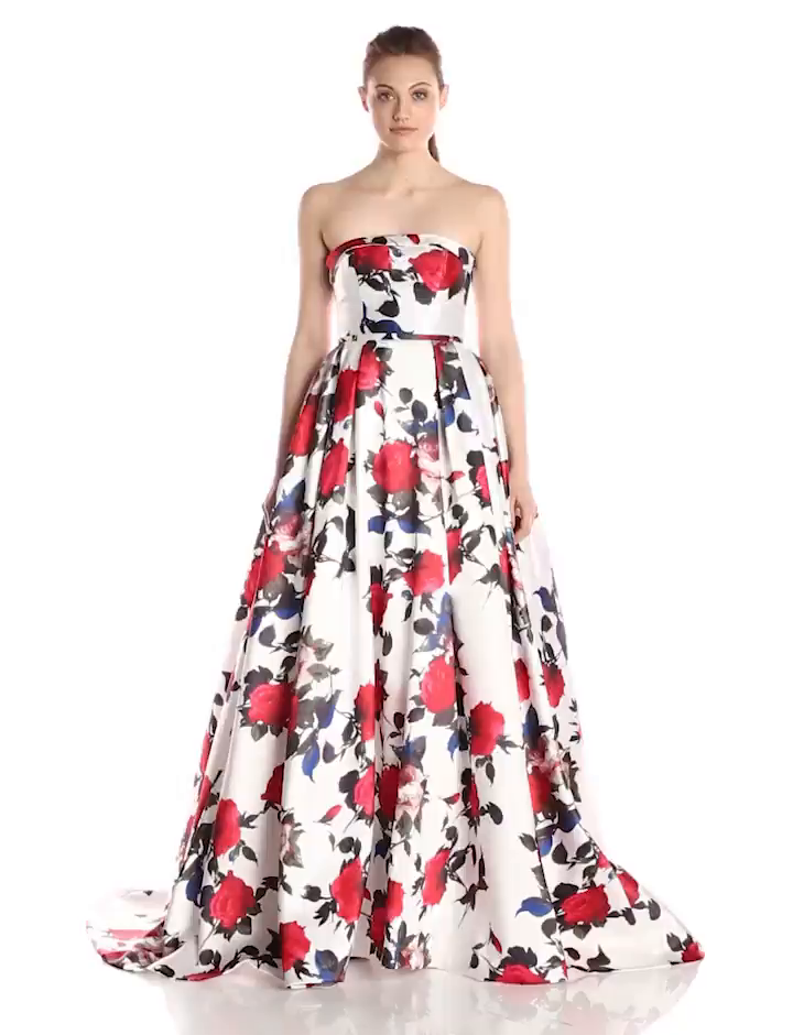 Mac Duggal Women\'s Long Rose Floral Printed Ballgown at Amazon ...