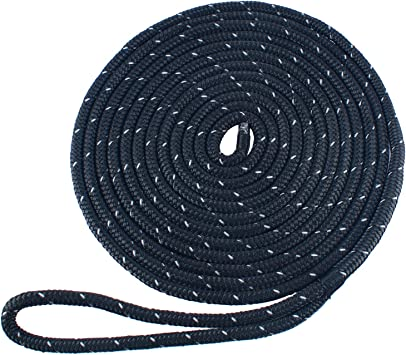 Amarine-made 3//8 Inch 15 Feet  Double Braid Nylon Dockline-Black color Dock Rope