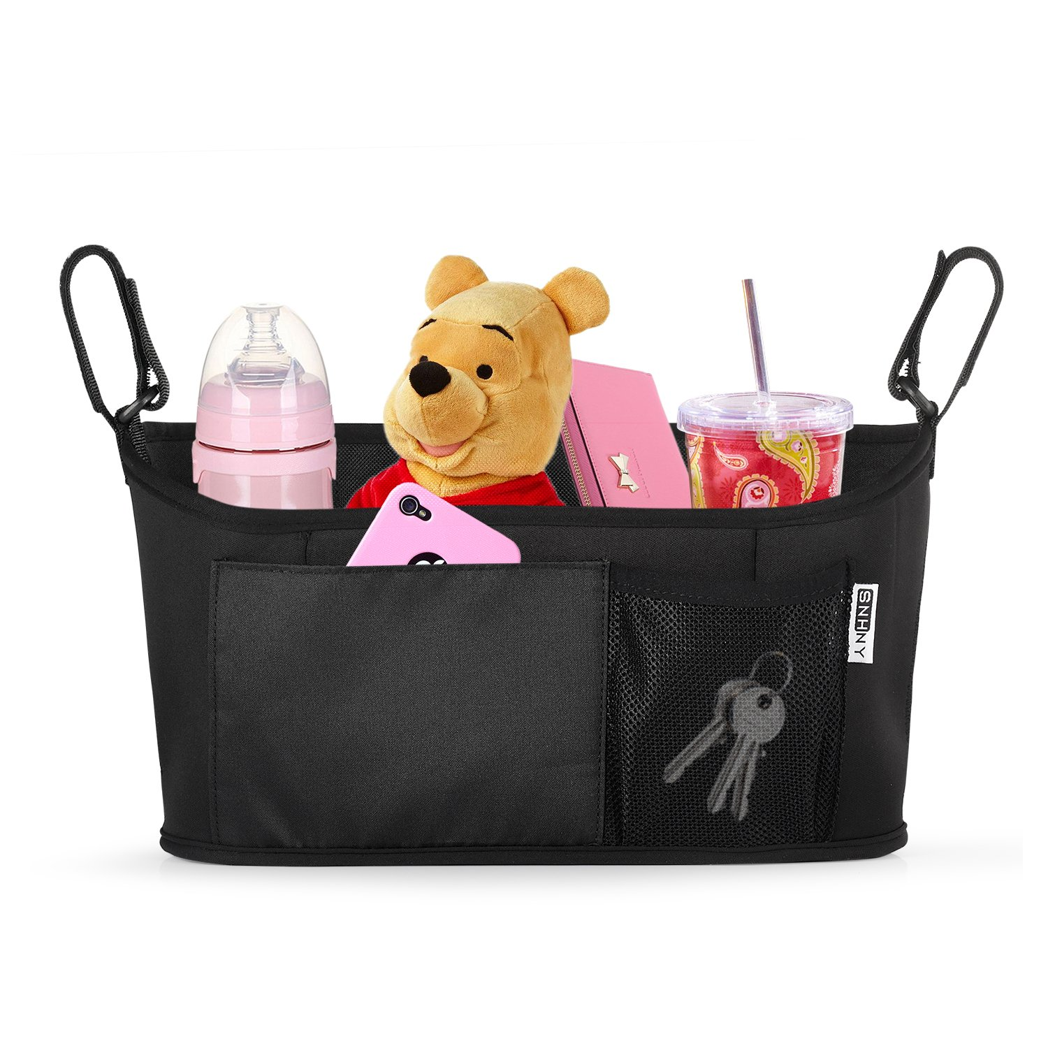 Top Universal Stroller Organizer by SNHNY; The Best Stroller Accessories; Universal Baby Diaper Stroller Bag with Accessary Bag. (Black Simpler)